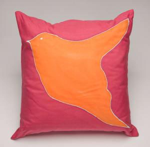 Bird Cushion - Orange on Cinammon