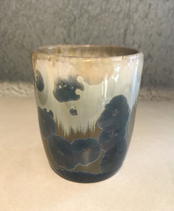 Brown /w white and blue crystal cup