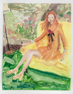 """Untitled, from the """"Fashion"""" series (orange dress and yellow couch, ME08)"""