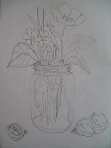 Flowers in a jar with wallnuts