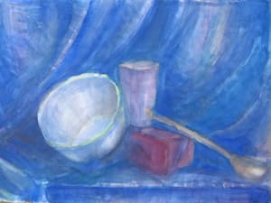Still life with metal bowl and a blue drapery
