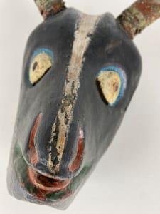 5056 - Antique hand carved wooden Mexican Goat Mask