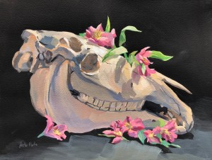 Horse Skull and Flowers