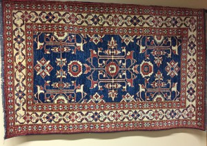 Pakistani Rug (Blue interior, rust/cream border)