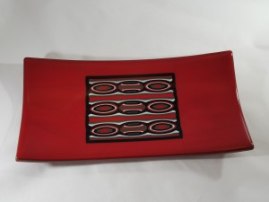 Red Pattern Bar Plate