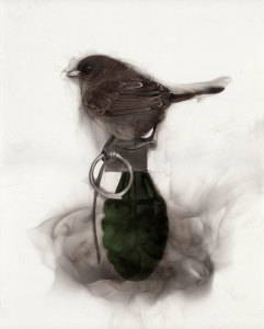 Bird on Grenade (holding pin)