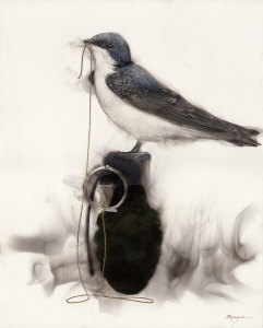 Bird on Grenade ( 1 Swallow string to pin in beak)