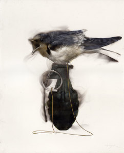 Bird on Grenade (3 mad Swallow attached to pin)