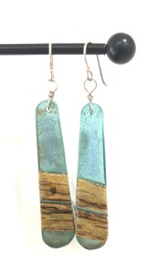 Artist made earrings resin and wood