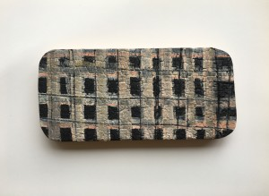 Plaid or grid pattern over shou sugi ban / found wood sample.