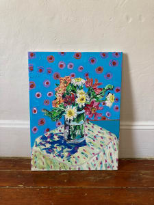 Bouquet of Flowers on Polka Dots