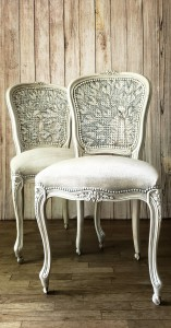 Pair of Peacocks Chateau d'Ax White Dining Chairs