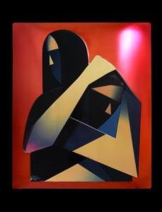 """THE HUG (avant garde) black background"