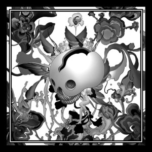 OVM Lotus War Silk Scarf B+W