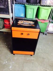 Man cave motorcycle rolling cart