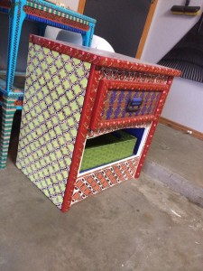 Geometric red and lime vintage side table with lime basket