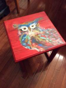 Red stained bright owl small table