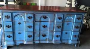 Vintage Blue Stained Pink Poppy Dresser