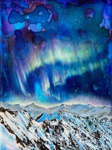 扭曲极光(Aurora Borealis附近的北极)