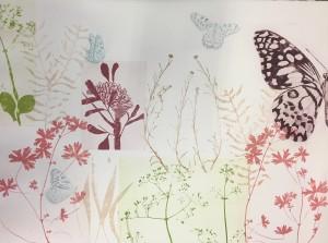 Pink Banksia, three blue kites and a jewel