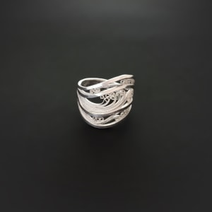 """From the series, """"Icy White & Crystalline"""" Rings"""