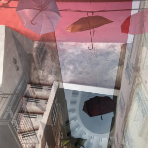 Hallucinations: Trani with Umbrellas Pink and Blue