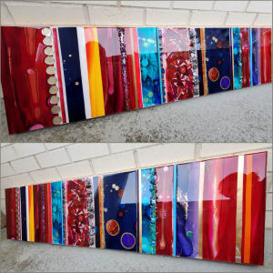 """Abstract Collage Art on Wood Panel 12""""x 48""""x 1.5"""" w Glass, Alcohol Inks, Resin"""
