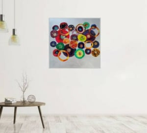 Abstract Resin Flower Collage Artwork on MDF Flat Panel