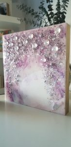 Lavender & Lilac Bling Resin + Glass Art on Wood Panel