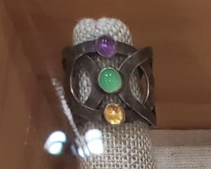 Sterling silver ring with chalcedony, amethyst and citrine