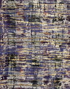 purple plaid, gold waves