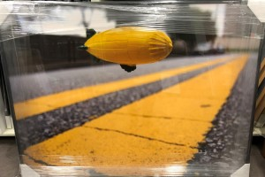"Inches Above Earth Series ""Approximate Altitude ? Inches "" (Yellow Blimp over Yellow Lines)"