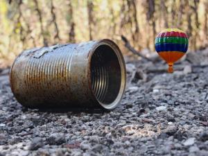 "Inches Above Earth Series ""Approximate Altitude 5.9 Inches"" (Hot Air Balloon and Tin Can)"