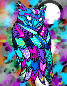 """Florescent Owl"" Limited Edition Set of 20 #4 of 20"