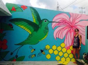 Hummingbird and Hibiscus Mural