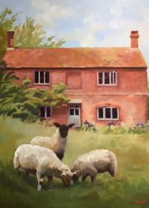 Three Sheep at an English Country Home