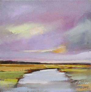 """""""Amethyst Sky"""" over Ogunquit River Footbridge Beach, Moody, ME"""