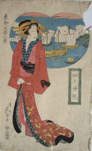 Red Robed Standing Woman, Harbor Boats behind her