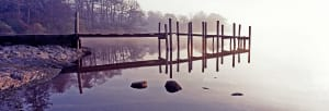 Early misty morning Jetty on Derwent Water in the Lake District