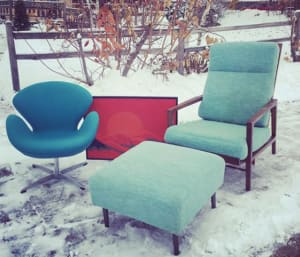 Mid century modern Widdicombe Upholstered Arm Chair and Ottoman