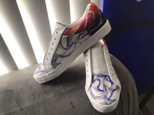 Art On Shoes Series/Collection/designs (Red/White & Blue Swirls