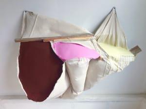 袋绘画(烧伤赭色,粉红色和浅黄色)