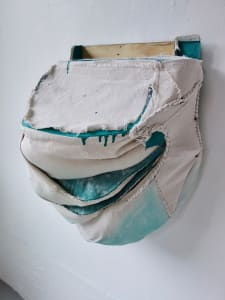 Bag Painting (slit, fold and pouch, aqua hidden aqua)