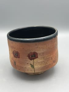 Tea Bowl with Red Poppy