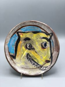 Yellow Dog Plate with Owl on the Back