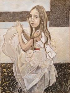 一件白色连衣裙的Aysha