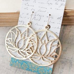 Gold Circle Lotus Earrings