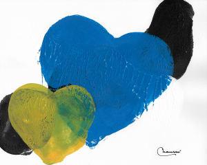 蓝色和黄色的心