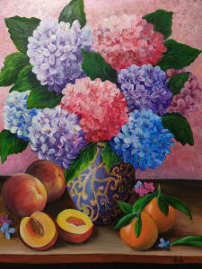 Hydrangea, peaches and mandarins