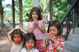 Girls with Red Noses, Siem Reap, Cambodia